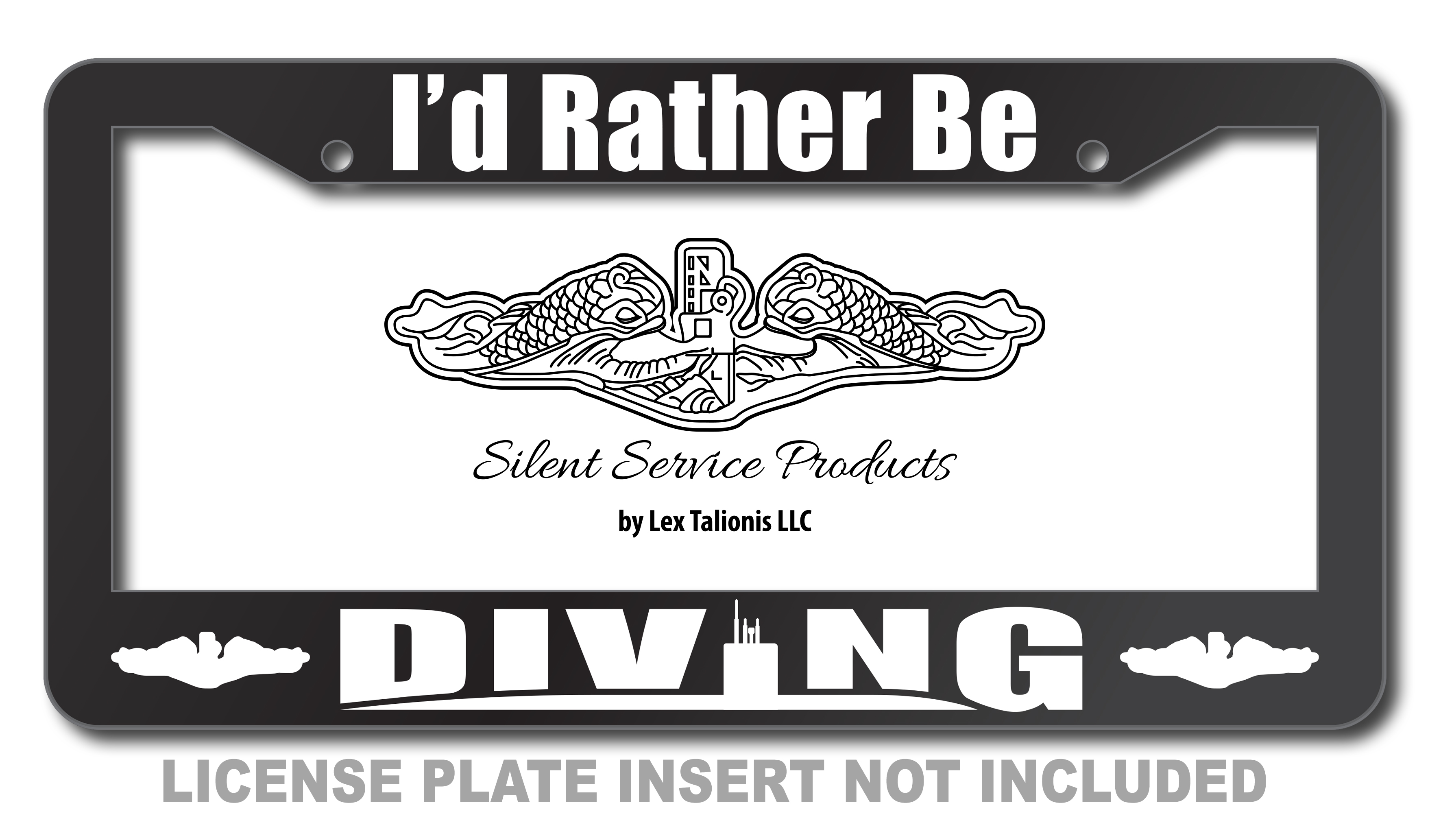 I'd Rather Be Diving License Plate Frame