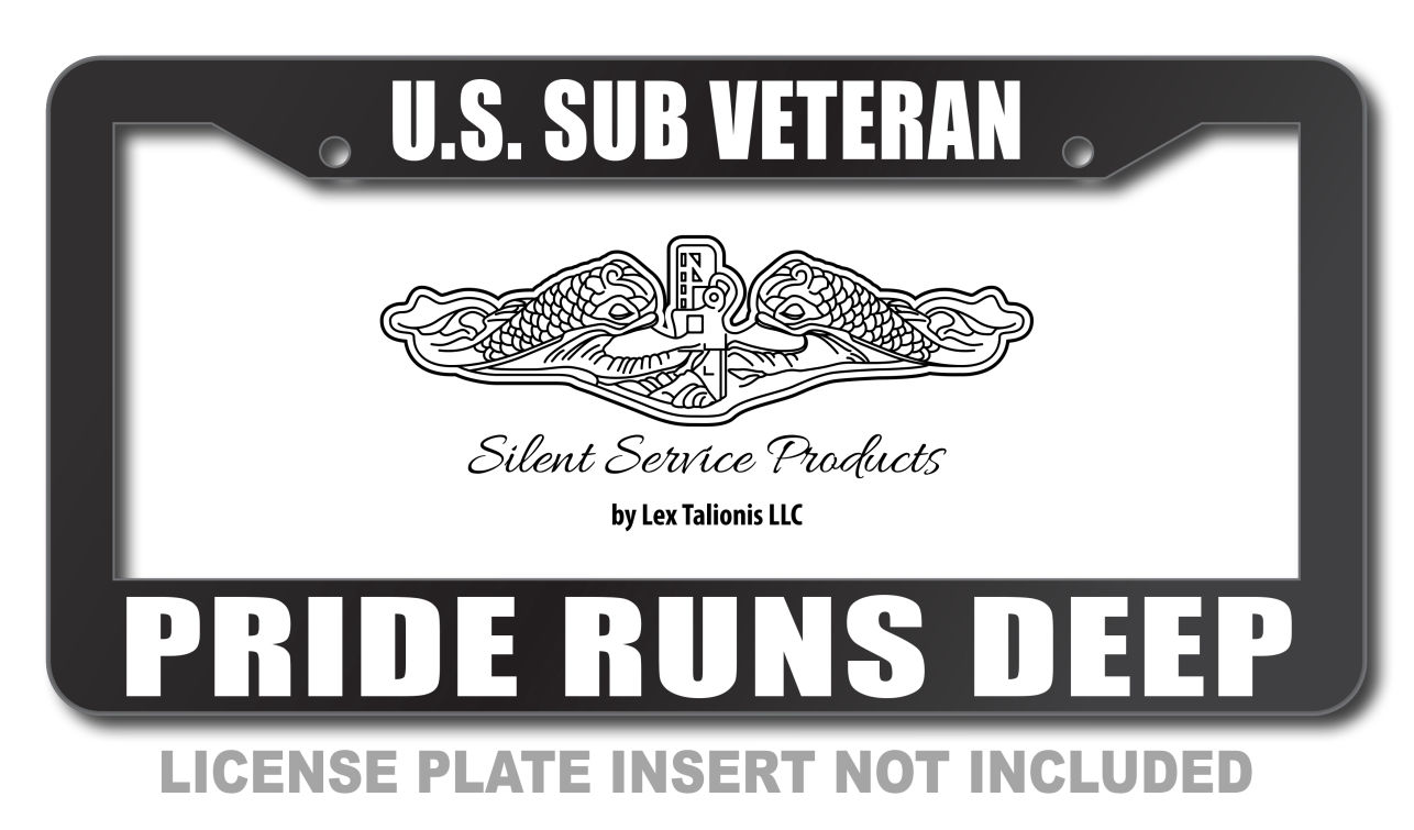 U.S. Sub Veteran Pride Runs Deep License Plate Frame
