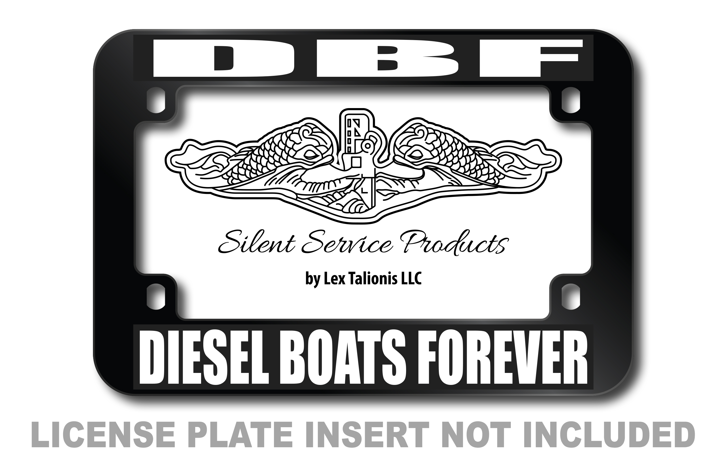 DBF - Diesel Boats Forever Motorcycle License Plate Frame